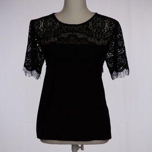 TOPSHOP Lace Shoulder Blouse Size 8